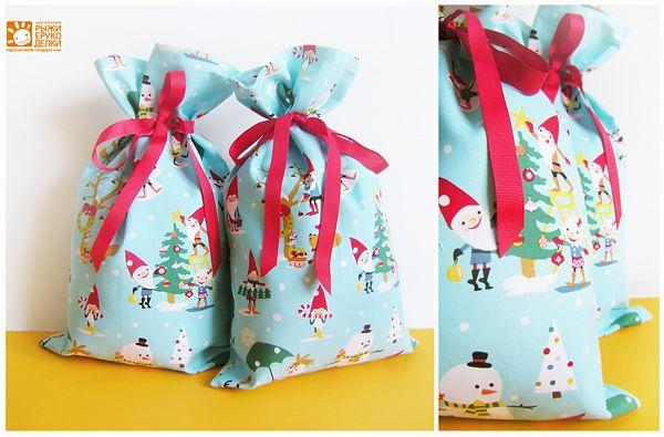 Рыжие Рукоделки/ orange crafts: Мешочки для подарков ( 5 шт. )