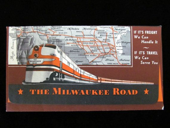 This is a ticket jacket for The Milwaukee Road, one of the more famous railroad passenger lines of the day. The jacket is used, and there is a penned date of 2/21/1947 on the inside of the jacket. There are a bunch of ticket stubs inside, and these also date to 1947. The jacket measures about 6.5 X 3.5, and each stub measures about 2.25 X 1.25. This item is in Very Good Condition. There are no rips or tears. There are inked notations on the inside of the jacket as seen in the photo...
