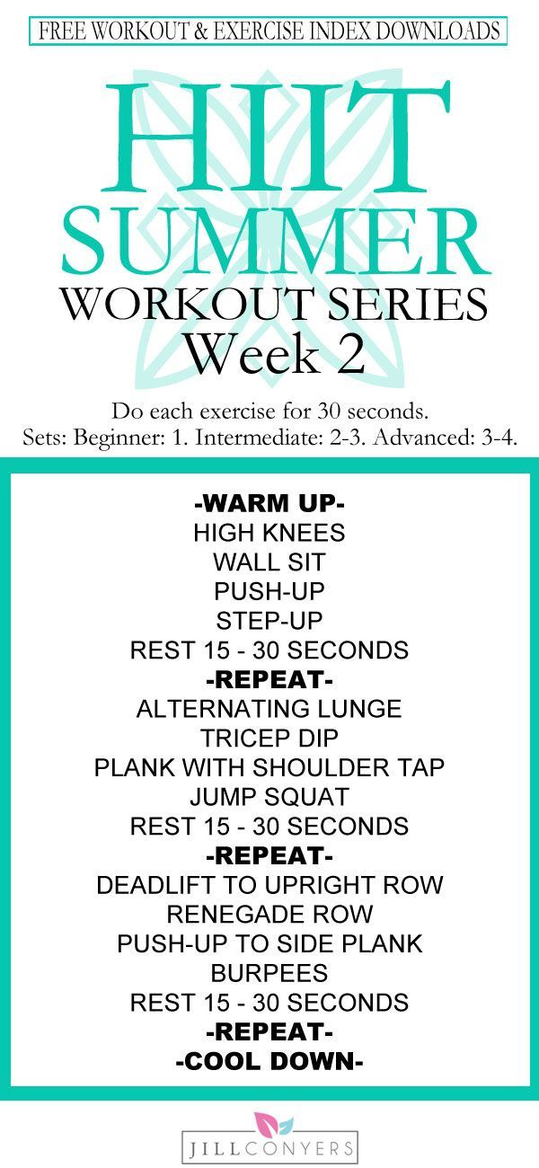 FREE summer workout series! We're moving on to week 2 of your fittest summer ever. Be prepared for success - download the strength and cardio workouts, fitness tracker and exercise index. Schedule your workouts with the fitness tracker and hang it on the refrigerator. Target every part of your body and burn calories in about 30 minutes. You're going to feel amazing! Pin it now and workout later. Download the printables for easy access. @jillconyers