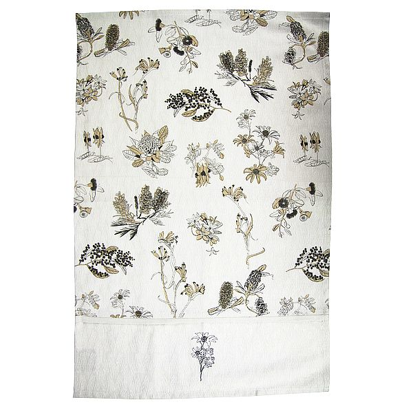 Organic Cotton Botanical Australia Tea Towel  $13.95. Famous floral emblems of Australia are screen printed with eco-friendly water based dyes onto unbleached organic fabric. http://www.greengiftsaustralia.com.au/shop/index.php?main_page=product_info&cPath=2_59&products_id=262