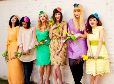 Multi-colored fascinator hats. Ciao Nina is a DC-based designer, whose hats were featured on an episode of Gossip Girl recently.
