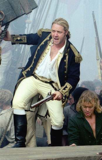 Royal Navy Capt. Jack Aubrey, Russell Crowe.... decent movie; better if you have read the Patrick O'brian book series...most excellent.