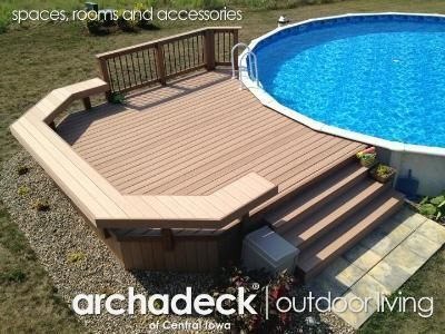 This is a custom two tiered deck with wrap around stairs we recently built around an above ground pool. Description from pinterest.com. I searched for this on bing.com/images