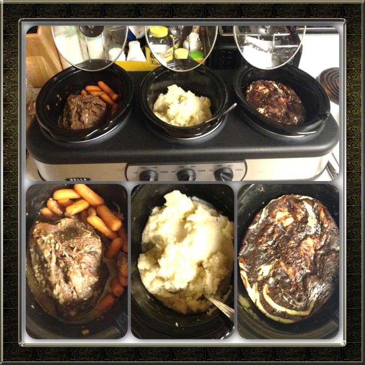 Roast and carrots, mashed potatoes, and brownie cream cheese pudding cake, all in my triple crockpot!