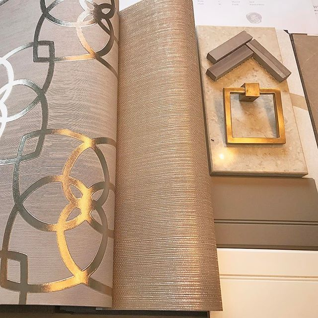 @ sarahst.amandinteriordesign - Working on a powder room scheme today to present to my client. Powder rooms are a place to be daring with pattern and texture. Gold grasscloth on the ceiling, patterned wallpaper on the walls and polished herringbone tile on the floor. My signature square pulls in gold finish on the custom vanity. I hope my client loves this concept. Designed by @sarahst.amandinteriordesign #designersources #customdesign #gold#wallpaper#GTAdesigner #clientmeeting#concep...