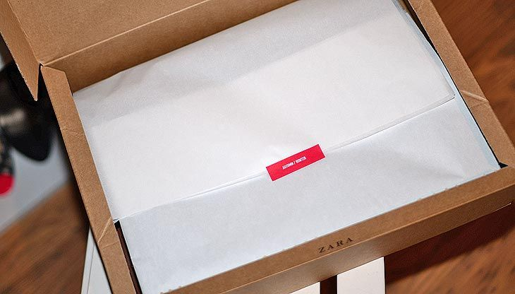 Zara online store: packaging