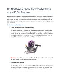 Find out what's the best thing to do when you have your rc car!