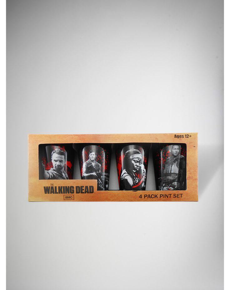 The Walking Dead Pint Glass 4 Pk