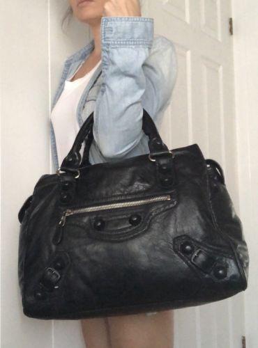cf5f12259b Details about Authentic BALENCIAGA Giant 21 Part time City Bag Black ...