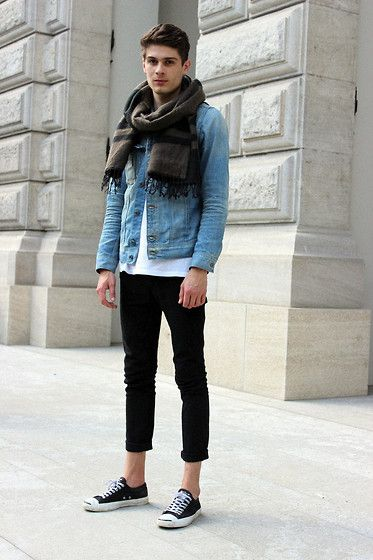 Converse Sneaker, Acne Studios Denim, Cheap Monday Shirt, G Star Raw Jacket, H&M Scarf