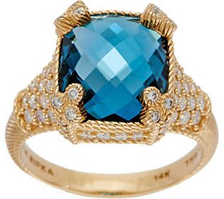 Judith Ripka 14K Gold London Blue Topaz & Diamond Monaco Ring