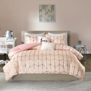 Intelligent Design Khloe Blush/Gold 5-piece Comforter Set | Overstock.com Shopping - The Best Deals on Teen Comforter Sets