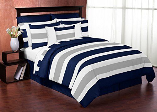 Navy Blue, Gray and White Stripe 4 Piece Childrens, Teen Boys Twin Bedding Set Collection Sweet Jojo Designs http://www.amazon.com/dp/B00VQGAXR2/ref=cm_sw_r_pi_dp_w4dMvb1SAW397