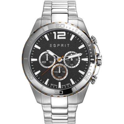 Esprit Herenhorloge 'Aiden Silver' ES108351003. Stoer en sportief herenhorloge, chronograaf met stalen kast en zwart-rode accenten. De kast heeft een doorsnede van 44 mm en heeft een zwarte wijzerplaat met chronograaffuncties. Het horloge is 100 meter waterdicht. Stoer en sportief model uit de Esprit-collectie. Model geschikt voor stoere en sportieve heren.