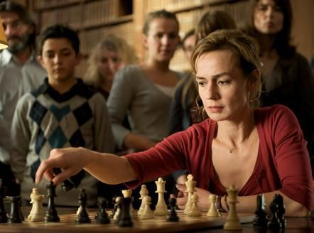Queen to Play [Joueuse] (2009, France / Germany). Chambermaid turned avid chess player Hélène (played by Sandrine Bonnaire) competes in a tournament held in the Bibliothèque Fesch, the rare book hall of the municipal library of Ajaccio, Corsica. http://www.imdb.com/title/tt1082009/
