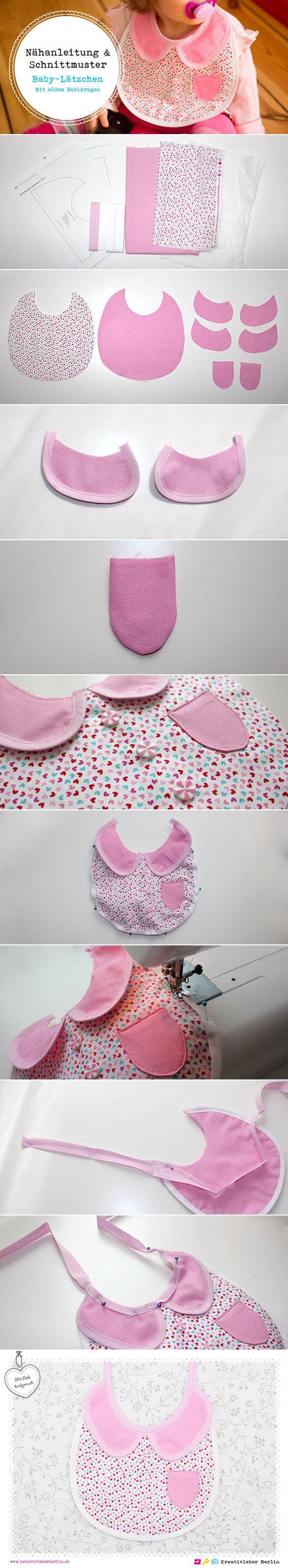 Die komplette Nähanleitung inkl. Schnittmuster gibt es in meinem Blog: http://www.kreativlaborberlin.de/suesse-baby-laetzchen-in-3-varianten