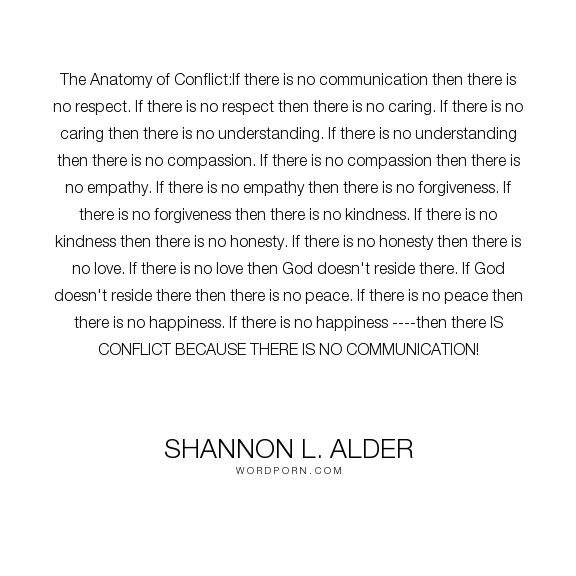 "Shannon L. Alder - ""The Anatomy of Conflict:If there is no communication then there is no respect. If..."". happiness, god, religion, peace, respect, freedom, healing, caring, connecting, understanding, leadership, stories, perspective, teaching, adversity, listening, leaders, loving, speech, talking, staying-positive, forgiving, stubborness, misunderstandings, unhappiness, counseling, taking-action, loving-one-another, solving-problems, conflict-resolution, solutions, strife, discussions…"