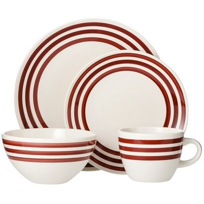Threshold Bistro Stripe Ceramic 16 Piece Dinnerware Set In