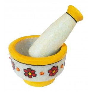 "Colorful Handmade Creative Stone Work Masher is engraved out of white marble stone. This graceful product is a remarkable addition for any kitchen and aids you to crush spices easily. Bring this product to your home or use it for gifting it your friends or relatives as per the occasion. This set of marble and pestle measures a diameter of ""9 cm"" and length ""6.5 cm"". Also, the pestle measures ""11cm"" in length and ""3"" cm width."