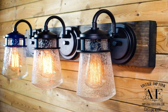 Industrial cottage bathroom Vanity Bar Light oil rubbed bronze Fixture ebony tint plank
