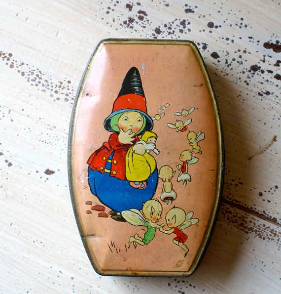Vintage Rileys Toffee Tin Pixie and Fairies by seedwingwonder, $30.00
