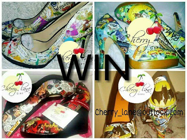 #Win ❤ A pair of bespoke comic heels All you need to do is like our page and comment Win. When the page reaches 1,000 likes www.facebook.com/Cherrylanegift all names will be put in a bowl and a winner will be chosen at random. good luck xx #minions #Gifts #GiftIdeas #Quotes