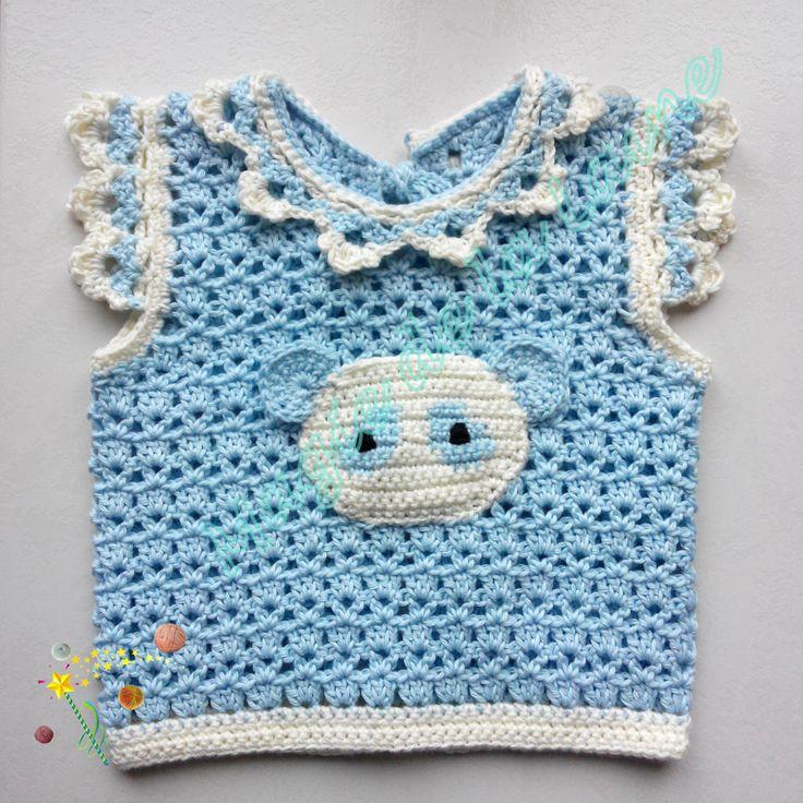 Gilet ourson sans manches fait main au crochet avec la laine Baby Cotton Soft dk de Rico Design. Modèle et kit à crocheter ici: http://www.magiedelalaine.com/modeles-layette/219-modele-gilet-ourson-sans-manches.html