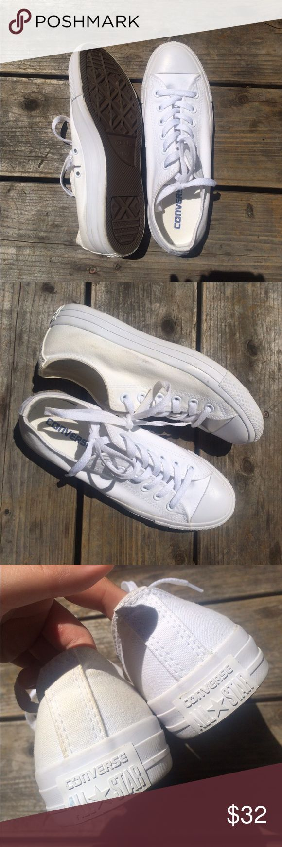 all white converse very good condition, minor yellowing, bottoms are completely clean!! I spilled a little coffee on the left one, you can see the pictures showing the brownish stains, but that can come out with bleach and these will look NEW!! These goes with every outfit!!💗💗💗💗 Converse Shoes