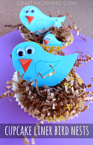 Blue Bird Craft with Cupcake Liner Nests - Fun Spring craft for kids to make!   CraftyMorning.com