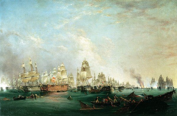 Surrender Of The Santissima Trinidad To Neptune The Battle Of Trafalgar Print By Lieutenant Robert Strickland Thomas