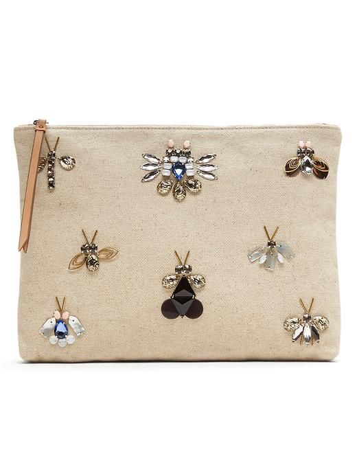 Accessories your look with a jeweled embellished statement piece. This tan cotton blend jewel bug pouch is the perfect unexpected fashion forward touch to your outfit | Banana Republic