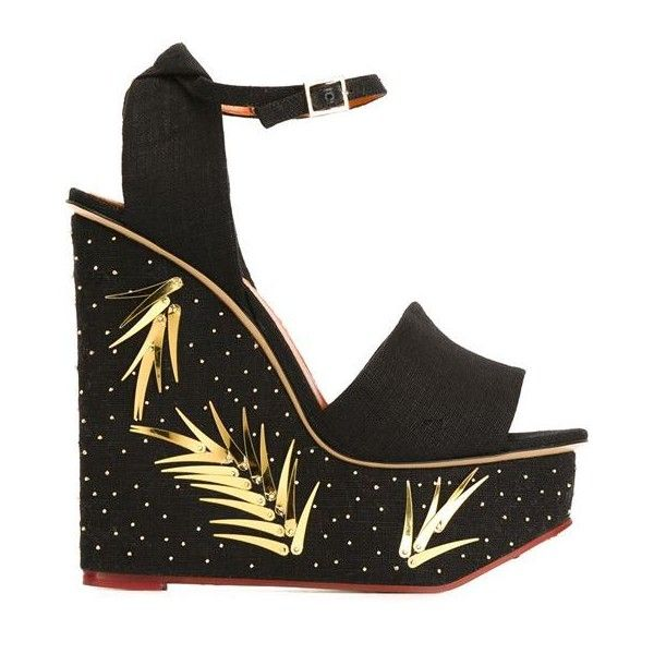 CHARLOTTE OLYMPIA Mischievous Platform Wedge Sandal, Black/Golden ❤ liked on Polyvore featuring shoes, sandals, platform wedge sandals, chunky platform sandals, black leather sandals, leather platform sandals and platform sandals