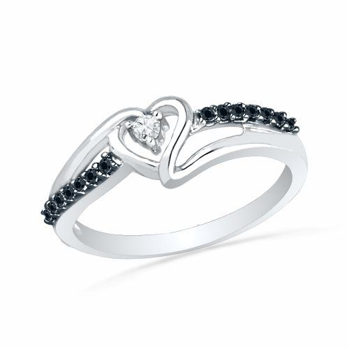 Platinum Plated Sterling Silver Round Diamond Black And White Heart Promise Ring (1/10 cttw) $54.99