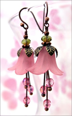 Vintage style pink flower blossom earrings   $28    #ORLYNails, #ORLYCoolRomance