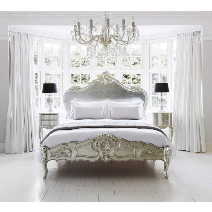 Sylvia Serenity Silver French Bed - Metallic Silver French Bed - Luxury Silver…
