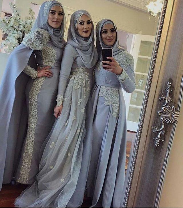 ✨Stunning ladies mA!! Really love their dresses and the pretty detail! I can't pick a favorite!✨@manal_mahmoud #muslimwedding #wedding #engagement #formal #formalwear #islam #muslim #hijabstyle #hijabibride #hijabbride #weddingday #weddingdress #bride #bridal #muslimfashion #muslimbride #modest #modestfashion #beauty #nikah #beautyblogger #fashionblogger #desi #desiwedding #weddinginspo #hijabfashion #photo #photography عرس# #عرسان #عروسة
