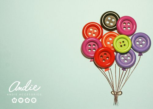 button balloons. Makes a cute card. Balloons could easily become flowers, especially with multiple sized buttons.