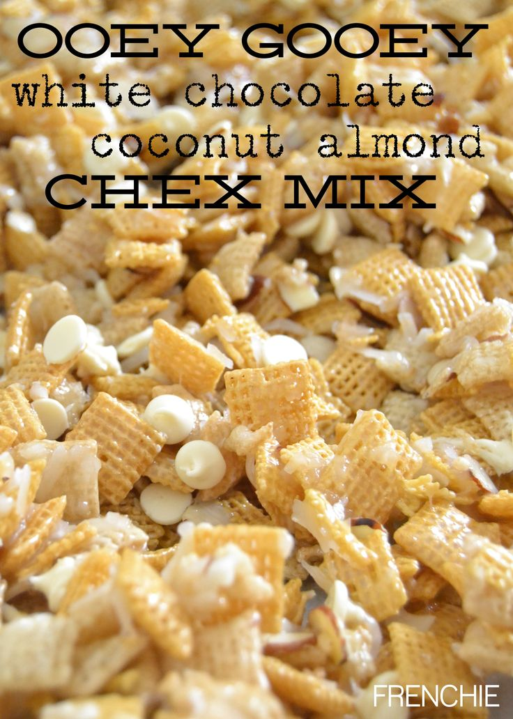 Ooey Gooey White Chocolate Holiday Chex Mix  on frenchiewraps.com |#holidaytreats | #yummy |#christmascrack