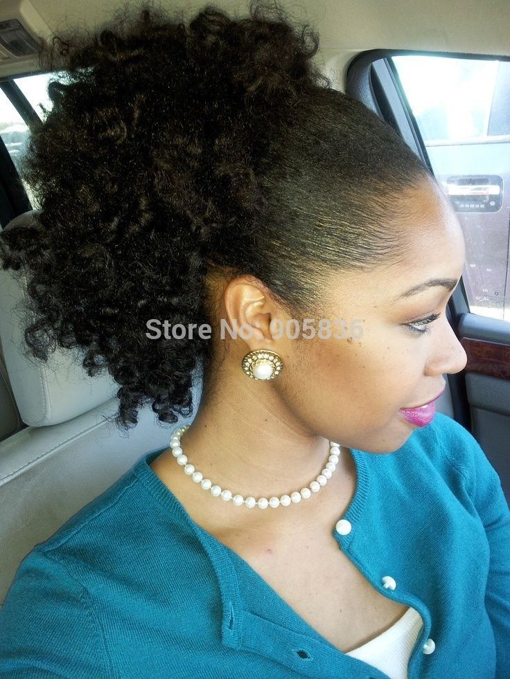African american  kinky  curly ponytail  Clip in jet black  warp around human hair drawstring afro ponytails hair extensions