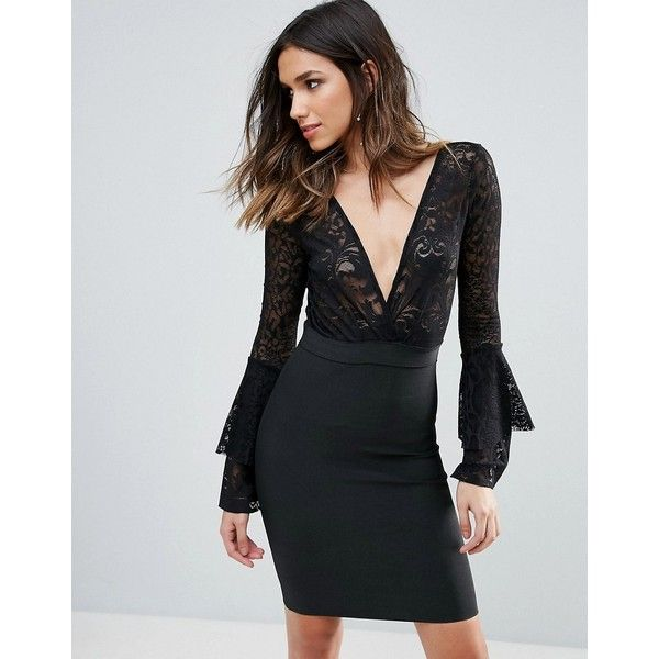 WOW Couture Plunge Wrap Front Lace Top Bandage Bodycon Dress (£73) ❤ liked on Polyvore featuring dresses, black, bandage dresses, long sleeve cocktail dresses, bodycon dress, plunging neckline cocktail dress and long sleeve bandage dress