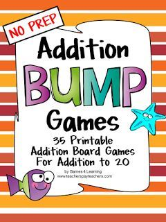 Addition Bump Games - NO PREP math games for addition