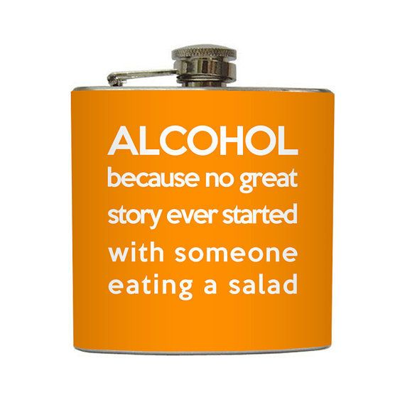 Funny Alcohol Definition Flask by LiquidCourage: Liquid Courage's Etsy store features clever, whimsical, and downright well made flasks of all kinds. This one is particularly awesome.