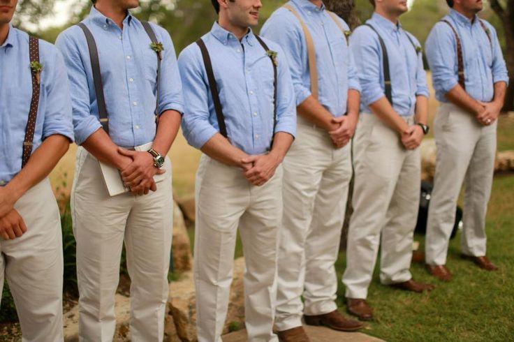 This is so sweet. Suspenders for the groomsmen.