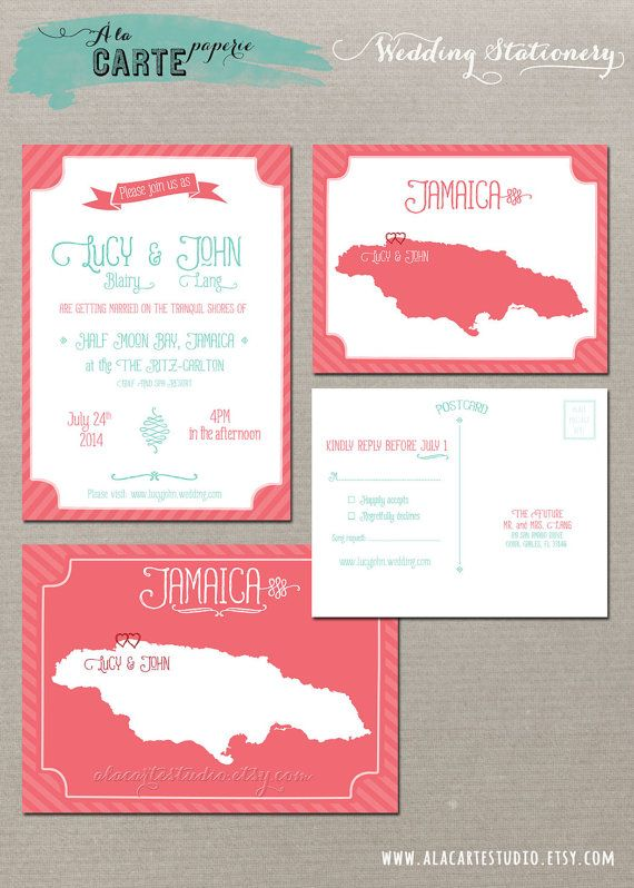Coral Reef Beach Destination Wedding Invitation by alacartestudio, $40.00