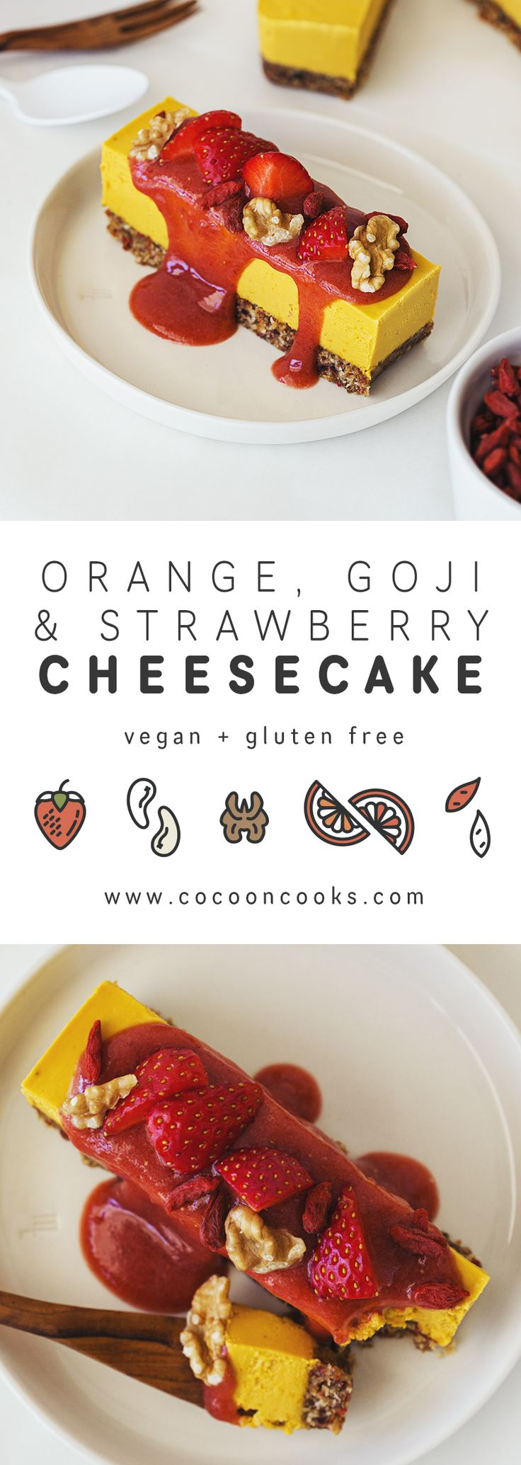 "Orange, Goji & Strawberry Raw Vegan ""Cheesecake"""