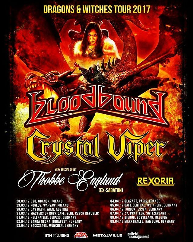 REXORIA are going on a European tour with @bloodbound_official @crystalviperofficial and @thobbe.englund! Two weeks of crazy shows and buring guitars! #REXORIA #femalefronted #europeantour #tour #europe #bloodbound #crystalviper #thobbeenglund #sweden #poland #germany #metal #heavymetal #powermetal