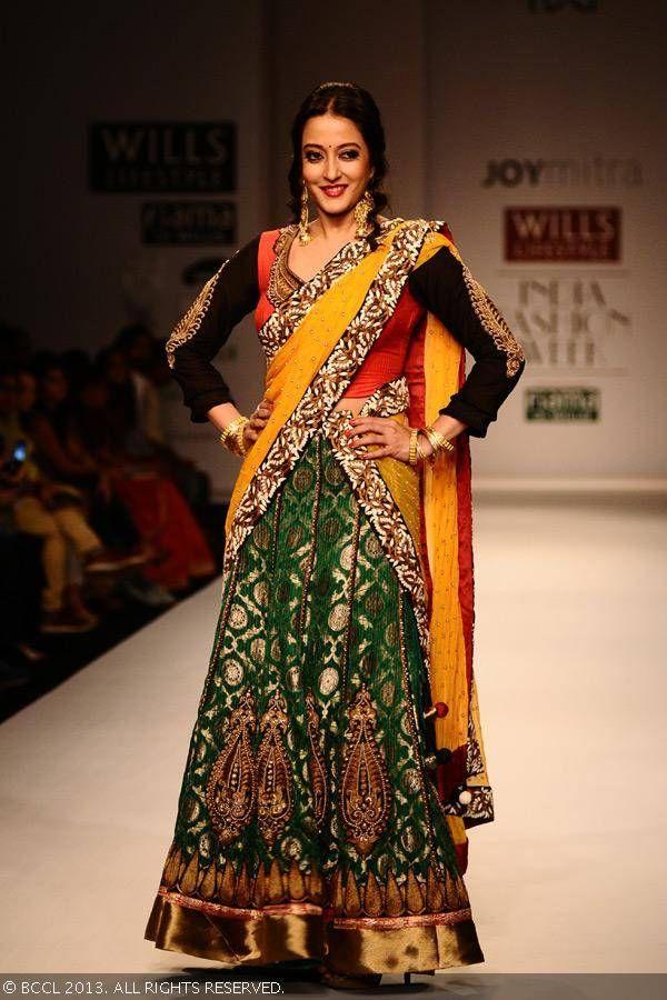 Raima Sen in lengha for Joy Mitra at Lifestyle India Fashion Week (WIFW) Spring/Summer 2014.