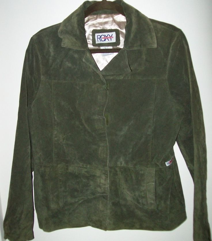 Genuine Leather L Roxy Quicksilver Womens Green Suede Leather Jacket Surf Skate - Coats & Jackets