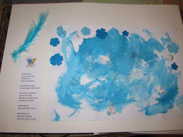 Geschenkje voor oma en opa, met een heel leuk versje gemaakt door Geert De Kockere bij het thema 'smurfen'.