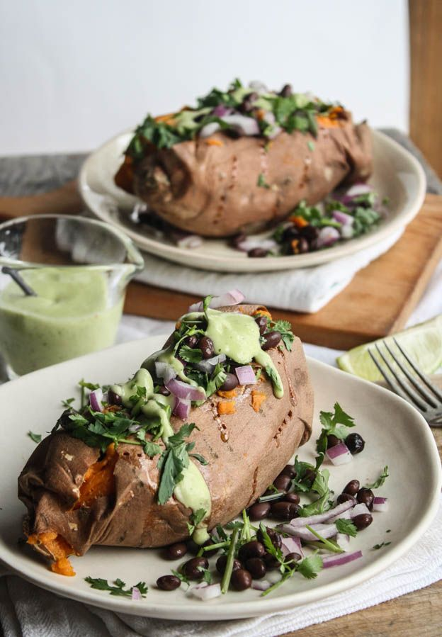 Spicy Black Bean Stuffed Sweet Potatoes with Avocado-Lime Sauce | Dishing Up the DirtSpicy Black Beans, Avocado Lim Sauces, Meatless Mondays, Black Beans Sweets Potatoes, Avocado Limes, Stuffed Sweets Potatoes, Stuffed Sweet Potatoes, Limes Sauces, Beans Stuffed